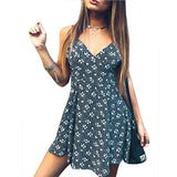 Sexy Mini Dress Women Spaghetti Strap V-Neck Backless Print A-Line Sleeveless Summer Beach Party Dresses Club Wear Vestido