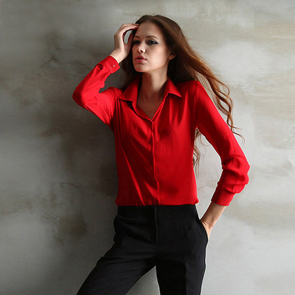 New Chiffon Casual Blouse Dress Shirts Tops Clothing Lady Beauty Sleeve High Quality