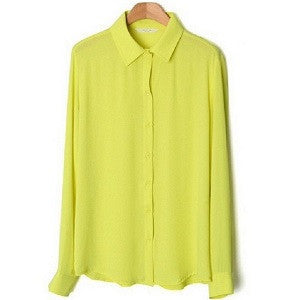 New Long-sleeve Shirt 5 Solid Women Blouses Button Color Female Chiffon blouse Women's Slim Clothing