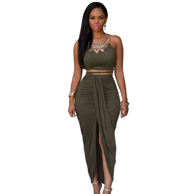 Online discount shop Australia - Front Split Women Two Piece Outfits Set Asymmetrical Summer Maxi Dress Long Suede Bodycon Dress Green 2 Piece Bandage Dress