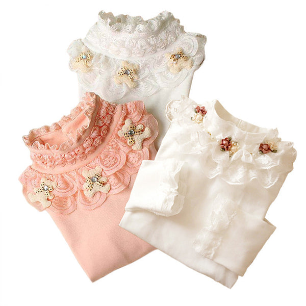 Online discount shop Australia - 3-12T Kids Girl Sweater Fashion Lace Sweater Children Cotton Cardigan Baby Outerwear Girls Knitwear Clothes