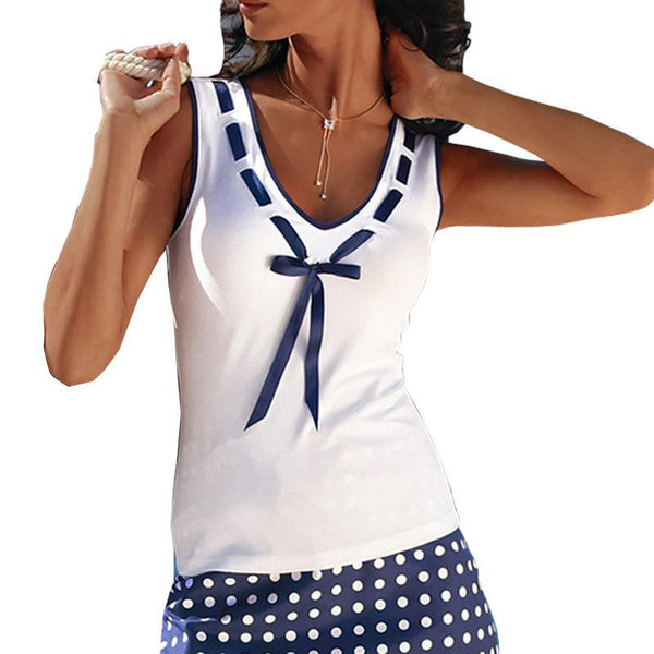 Women Tank Top Sexy V-Neck Bow Patchwork White Slim Tunic Shirt Plus Size Ladies Sleeveless Tops