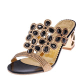 Online discount shop Australia - Fashion Women Big Rhinestone Cut-outs High Heel Sandals Ladies Party Shoes Woman Beach Slippers