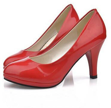 Women New Women Shoes 3 Color Black White Red Color PU Thin Heels Pumps Profession Pumps .DFGD-8807
