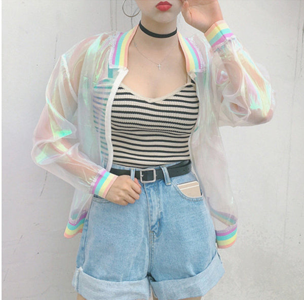 Women Jacket Laser Rainbow Symphony Hologram Women Basic Coat Clear Iridescent Transparent Bomber Jacket Sunproof