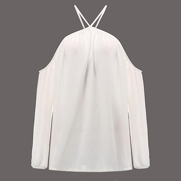 Women Sexy Off Shoulder Blouse Halter Long Sleeve Chiffon Top Plus Size Ladies Solid Causal Loose Chiffon Shirts