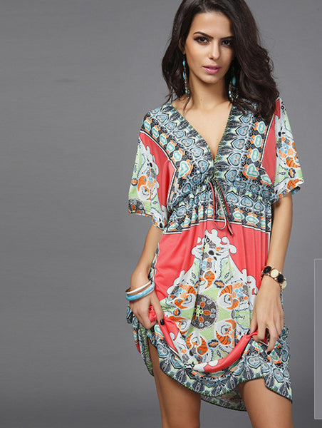 Online discount shop Australia - Boho Autumn Women Dress Sexy Loose Sundresses Deep V Ethnic Dashiki Print Tunic Beach Dresses Big Size 2XL Woman SunDress Robe
