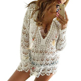 Online discount shop Australia - Elegant White Lace Blouse Tunic Shirt Women Tops 3/4 Sleeve Vintage Girls Blouse Sexy V Neck