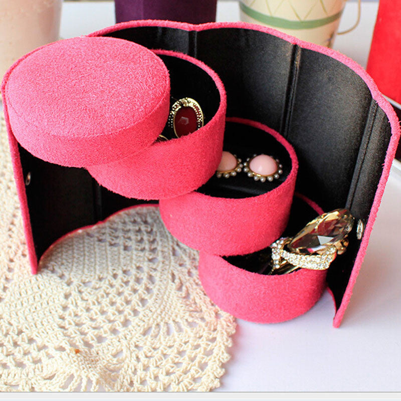 Useful 3 Layers Jewelry Box Accessories Cylinder Cases Necklace Earring Jewelry Holder Organizer BoxesReda