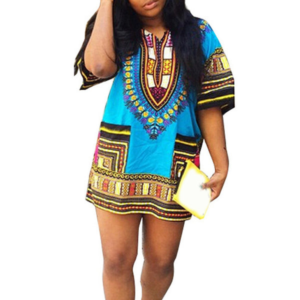 8979613ab40 Boho Women Autumn Tunic Dress Hippie Punk Traditional Dashiki Top Shirt  Dresses for African Clothing Plus Size 10744