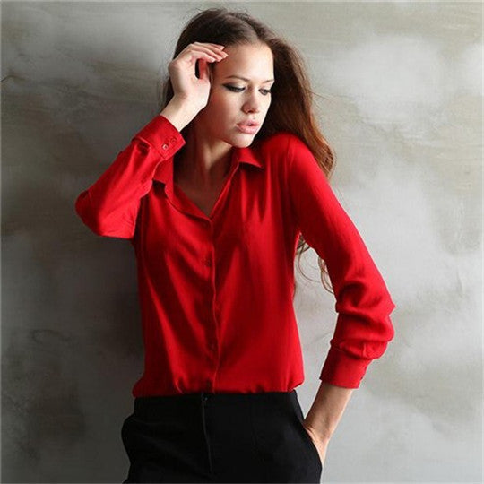 New Long-sleeve Shirt Women Blouses Button 5 Solid Color Female Chiffon blouse Women's Slim Clothing