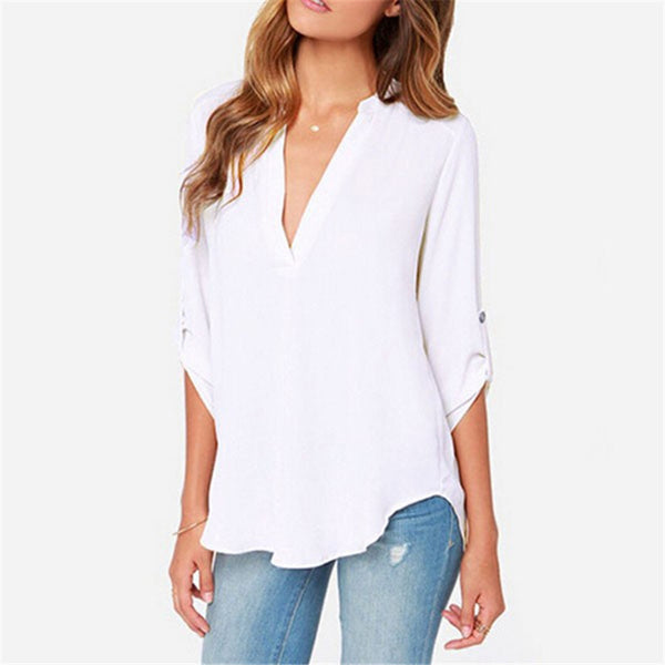 New Fashion Style Sexy Women V-neck Chiffon Blouse Casual Sleeve Solid Shirts Tops Size S-5XL