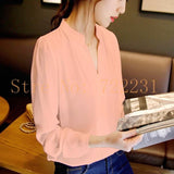 Women's Long-sleeved Green Solid Chiffon Shirt Elegant White Blouse Sexy V-neck Plus Size Women Blouses Office