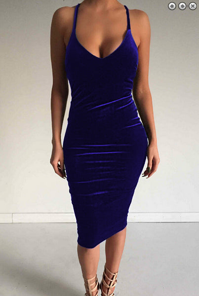 Online discount shop Australia - Autumn Dress Sleeveless Round neck Bodycon Sheath Velvet Women Summer Dress Halter Cross Backless Sexy Club Party Dresses