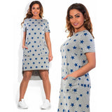 Online discount shop Australia - Fashion Print Star summer women dresses big sizes NEW plus size women clothing Knee-Length dress casual o-neck loose dress