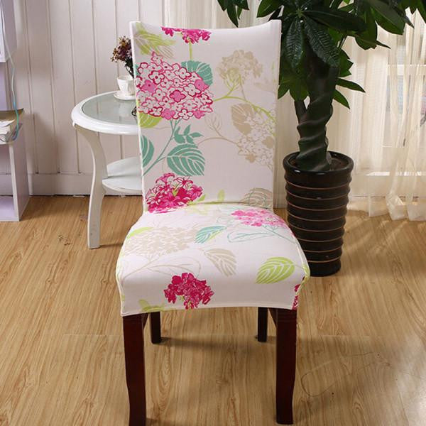 Stretch Short Removable Dining Chair Cover Room Stool Printing For Home Decor Folding Slipcovers Flat Chair CoverAa