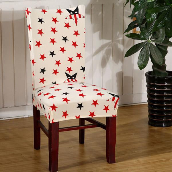 Stretch Short Removable Dining Chair Cover Room Stool Printing For Home Decor Folding Slipcovers Flat Chair CoverBa