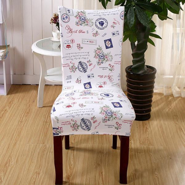 Stretch Short Removable Dining Chair Cover Room Stool Printing For Home Decor Folding Slipcovers Flat Chair CoverCa