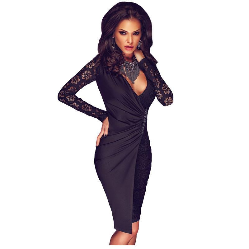 Winter Party Dresses Sexy Little Black Lace Long Sleeve Asymmetric Splice Dressas shownLa