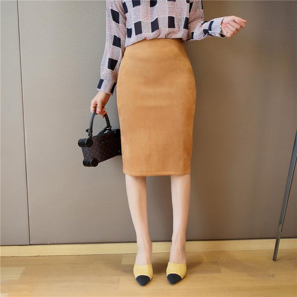 Women's Leather Suede Pencil Skirt Fashion Slim Elastic Hip Step Midi Women Skirts Female