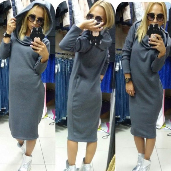 Online discount shop Australia - Long Sleeve Dress Sportswear Loose Long Hoodie Dress Fashion Casual Dresses Winter Plus Size Women Clothing Vestidos XXL