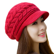 Online discount shop Australia - 8 Color Fall Beanies Knitted Hat Rabbit Fur Cap Snapback Cap Lady Female Brim stripe Skullies Women Hats
