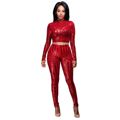 Women Sequined Jumpsuit Mesh See Through Bodysuit Long Sleeve Sexy