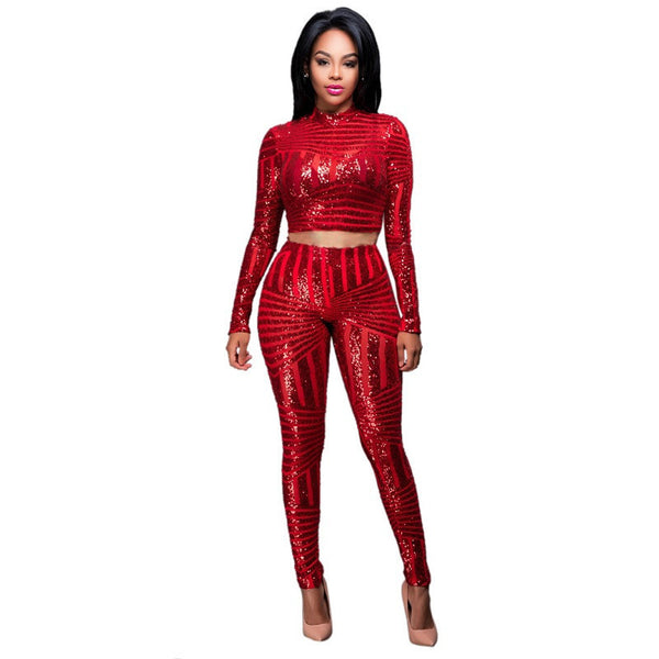 69bb74edb5d Women Sequined Jumpsuit Mesh See Through Bodysuit Long Sleeve Sexy Party  Club Jumpsuits Rompers 2 Piece