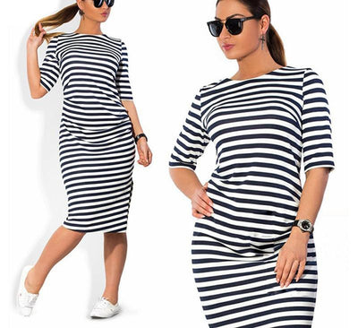 Striped Autumn women dresses big sizes plus size women clothing Knee-Length dress casual o-neck loose dress