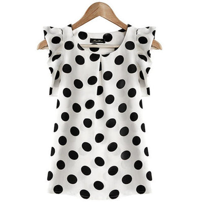 style women blouse tops polka dot ruffled pleated chiffon short-sleeve shirt female plus size chiffon