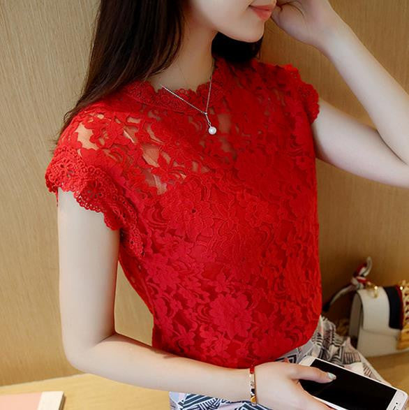 new lace hollow shirt crochet solid color sleeveless shirt female
