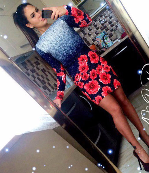 Online discount shop Australia - Multicolor Vintage Print Sheath Dress Women Slash neck Long Sleeve Dress Spring Sexy Wear Mini Dress