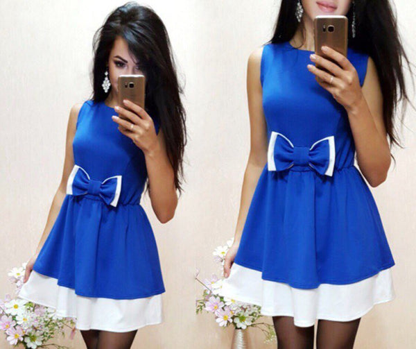 Online discount shop Australia - Casual Women Bow Patchwork Dress O-neck Sleeveless A Line Girl Party Elegant Robe Femme Mini dresses