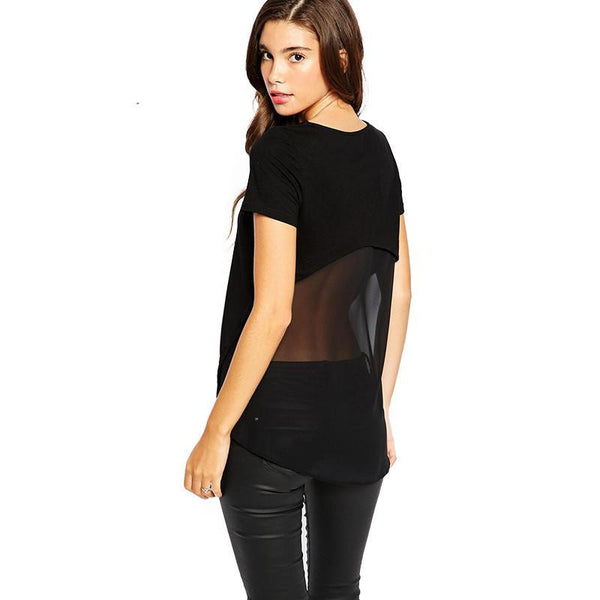 Semi Sheer sexy t-shirt mesh-shirts slim women tee for and T