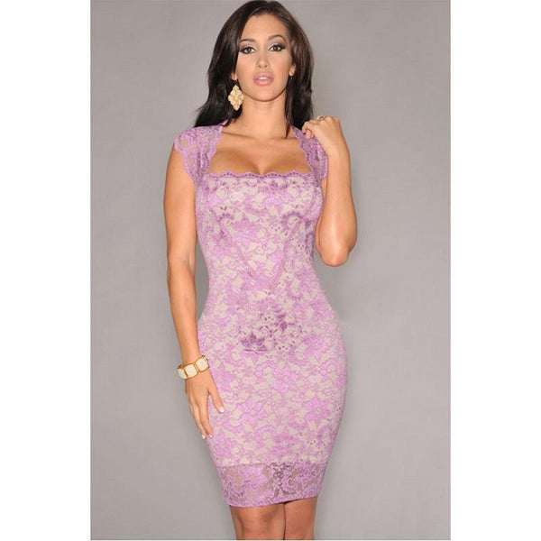 Online discount shop Australia - Elegant Sleeveless Mini Dress Women Sexy Nude Illusion Lace Short Dress Black Pencil Bodycon Party Dress