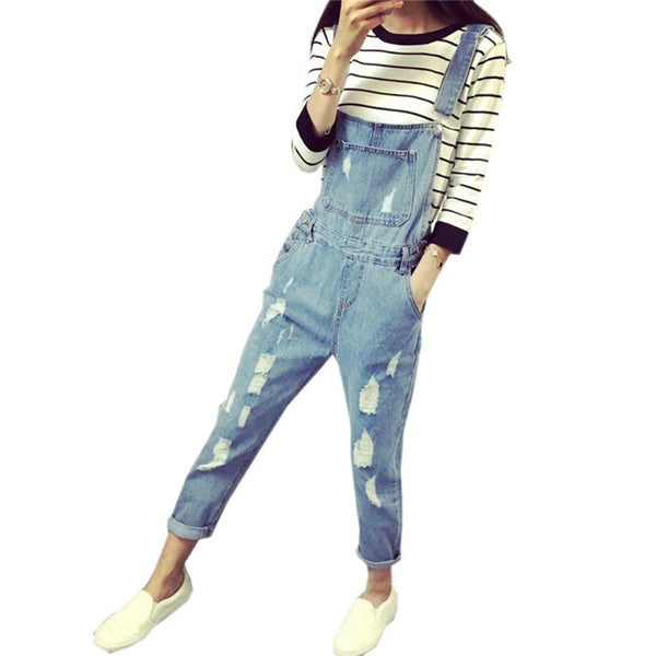 Denim Jumpsuits Fashion Women's Overalls Female Hole Denim Strap Trousers Preppy Style Loose Slim S-ML