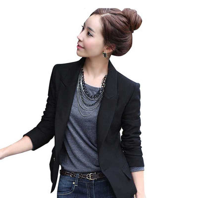 Online discount shop Australia - Fashion Women's One Button Slim Casual Business Suit Jacket Outwear Black Jackets