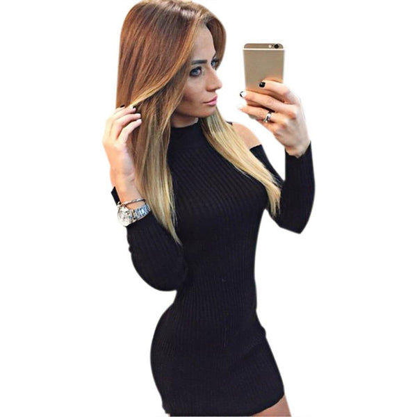 afefb5ffe56 Sexy Party Club Dresses Off the Shoulder Knitted Sweater Vestidos Robe  Femme Women Warm Winter Long