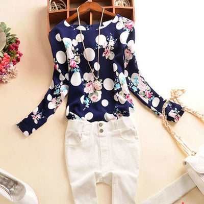Online discount shop Australia - Casual Chiffon Shirts Sexy Deep round-Neck Women Blouses Blue White Long Sleeve Solid Tops Plus Size Loose