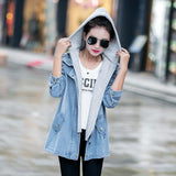 Online discount shop Australia - Blue Hooded Drawstring Boyfriend Trends Jean Swish Pockets Two Piece Outerwear Women Denim Buttons Coat Jackets