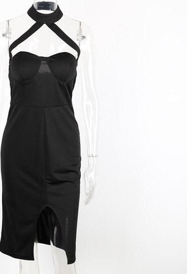 Simplee Sexy halter black summer dress Women evening party bodycon dress Girls elegant club high waist vestidos