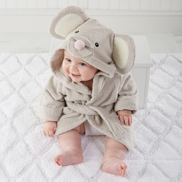 Children's clothing boys girls Robes new cartoon baby bathrobe Sleepwear and Robe Pink rabbit bearBeigea