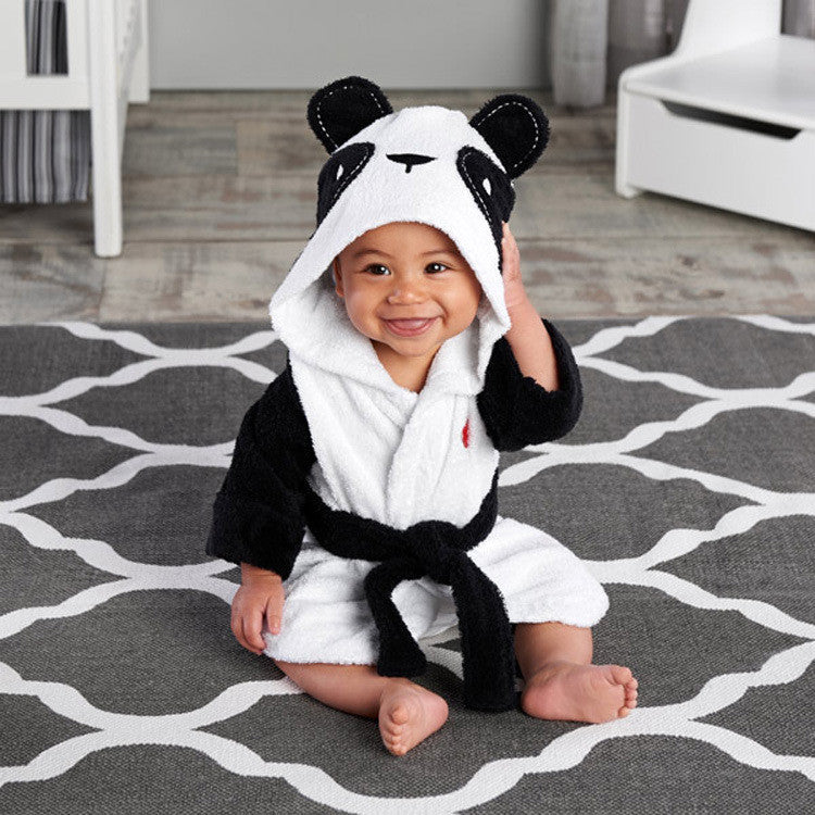 Children's clothing boys girls Robes new cartoon baby bathrobe Sleepwear and Robe Pink rabbit bearBlacka