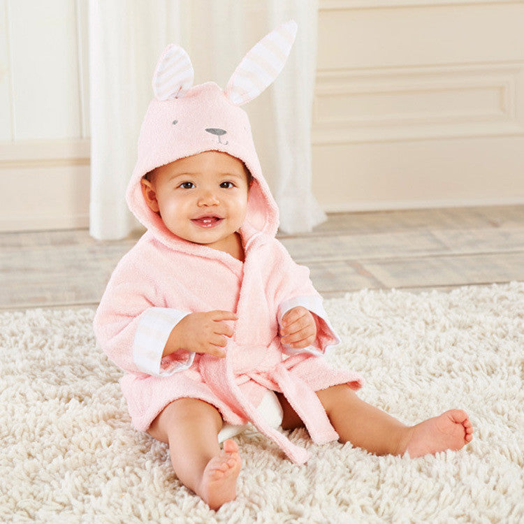 Children's clothing boys girls Robes new cartoon baby bathrobe Sleepwear and Robe Pink rabbit bearPinka