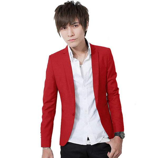 Online discount shop Australia - Fashion Candy Color Stylish Slim Fit Men's Suit Jacket Casual Business Dress Blazers