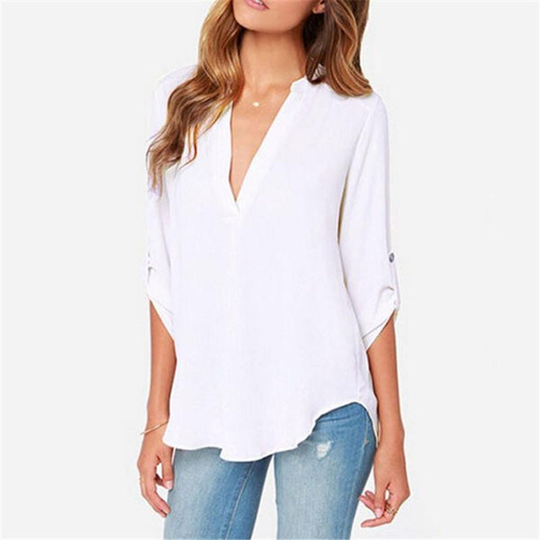 Tops Elegant Sexy V-Neck 7 Colors Causal Shirt Chiffon Women Blouses Ladies White Office Shirts Plus Size S-6Xl