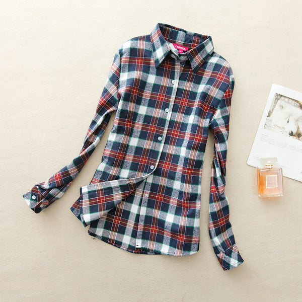 Online discount shop Australia - Fashion Women Flannel Plaid Shirt Plus Size Blouses Female Long Sleeve shirt Ladies Tops 20 Colors
