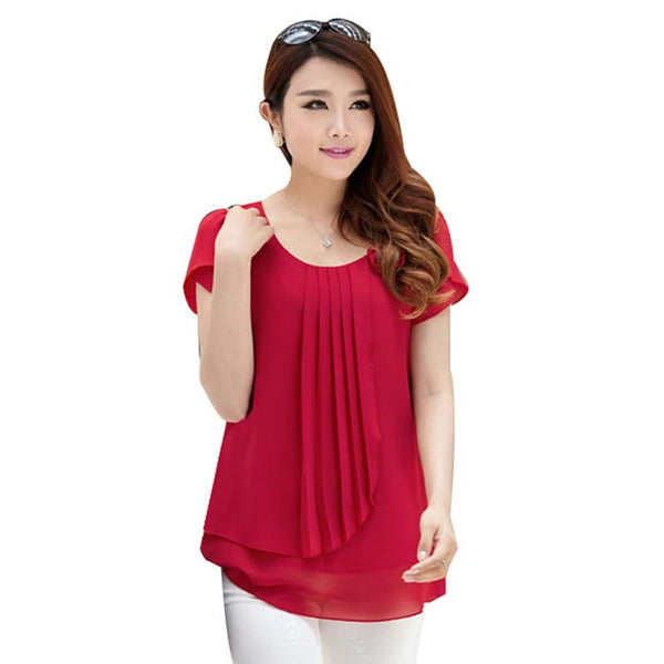 women chiffon blouse tops Casual loose Blouses O-Neck Short sleeve
