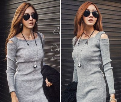 Online discount shop Australia - Autumn Winter Women Sweater Knitted Dress Long Sleeve Bodycon Stretch Woman Solid Casual Party Lady Dresses CL1114
