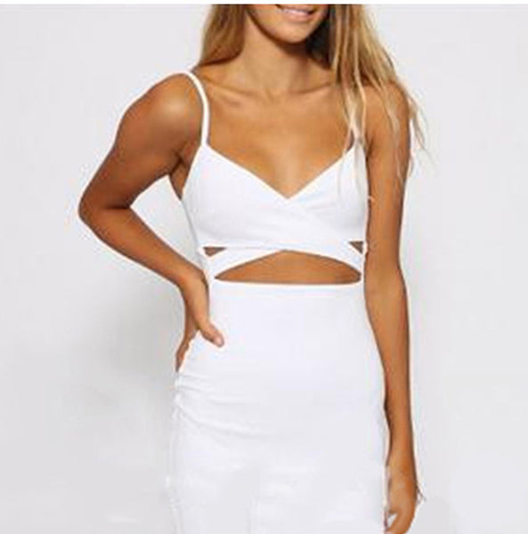 Online discount shop Australia - GZDL New Ladies Women Sleeveless Sexy False 2 Piece Set Bandage Cut Out Bodycon Dress Women White Black Club Summer Dress CL2381